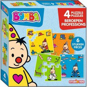 Bumba - Puzzel - 4 in 1 puzzel - beroepen - 4 x 6 stukken - brandweerman